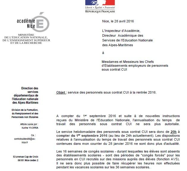 Avs Et Evs En Contrat Unique D Insertion Cui Lettre